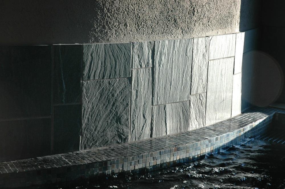 slate tiles at swimming pool