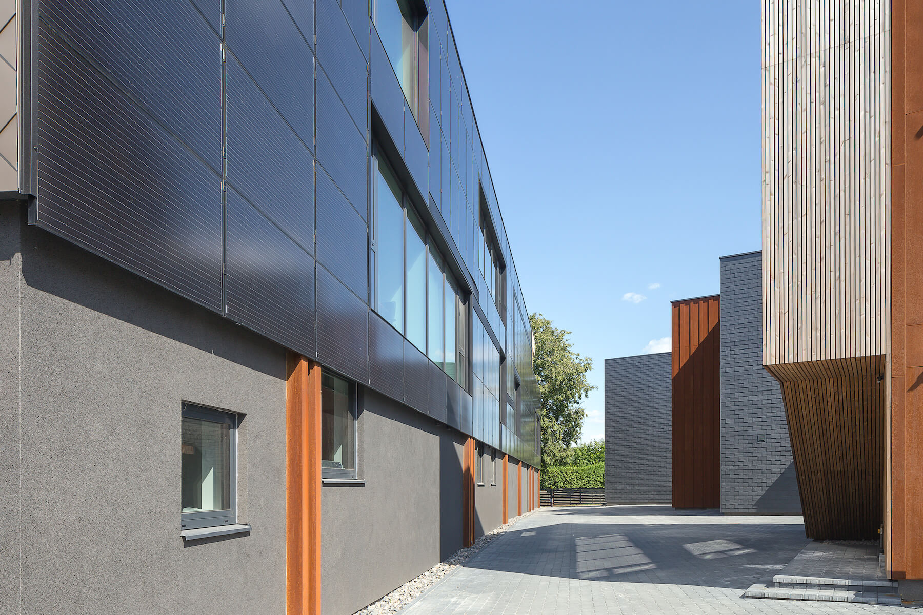 modern buildings with slate tiles