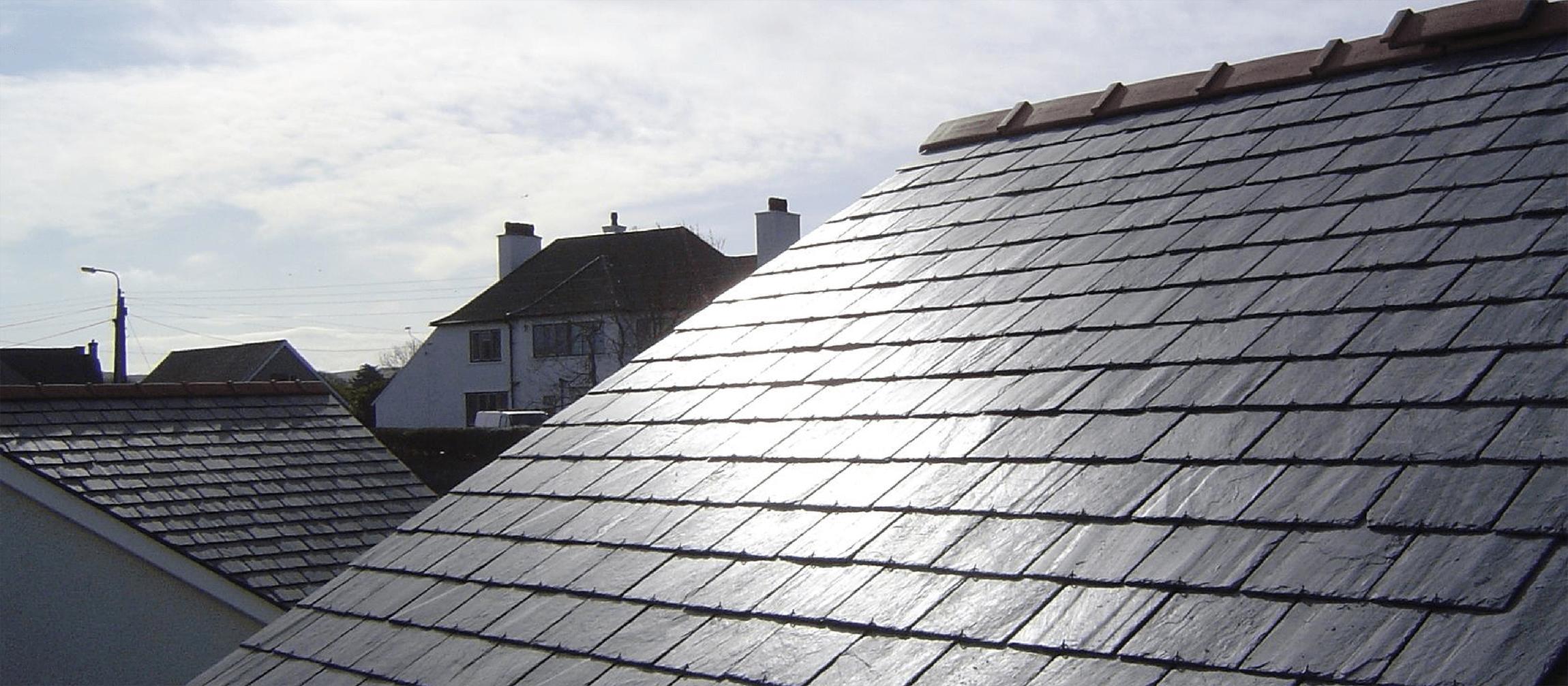 Slate roofs.